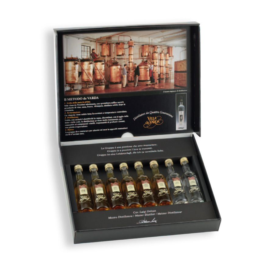 Grappa Degustationsbox Villa de Varda 40% 8 x 5cl